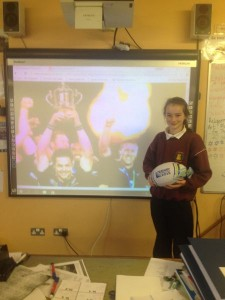 Katie winner of Rugby World Cup 2015 ball