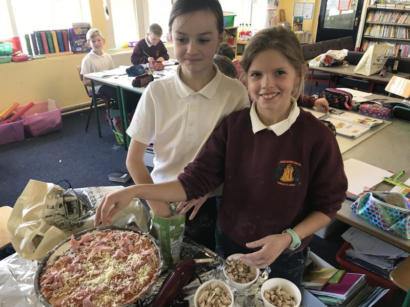 Making pizza in 4th class- October cookery lesson